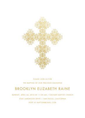 CYO Gold Cross on White Invitation 5x7 Flat Card