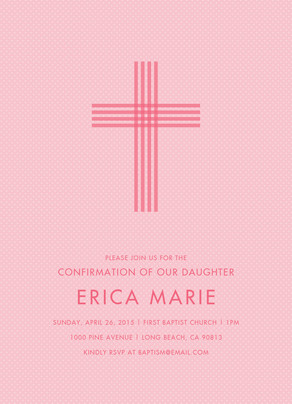 CYO Pink Tonal Stripe Cross - Invitation 5x7 Flat Card
