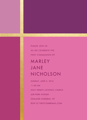 CYO Pink with Gold Foil Cross Pattern - Invitation 5x7 Flat Card