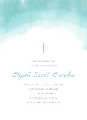 CYO Blue Watercolor with Cross Invitation 5x7 Flat Card