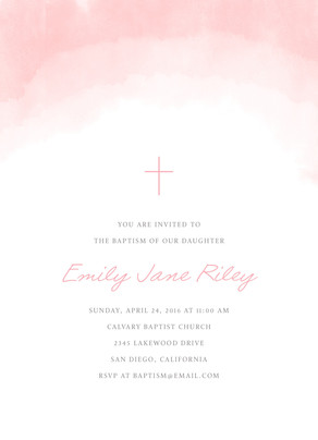 CYO Pink Watercolor with Cross Invitation 5x7 Flat Card