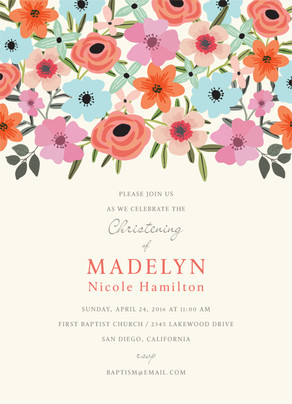 CYO Floral on Cream Invitation 5x7 Flat Card