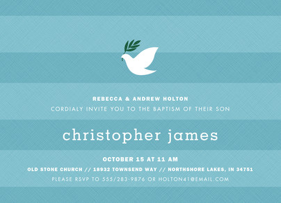 CYO Blue Stripes with Dove Invitation 7x5 Flat Card