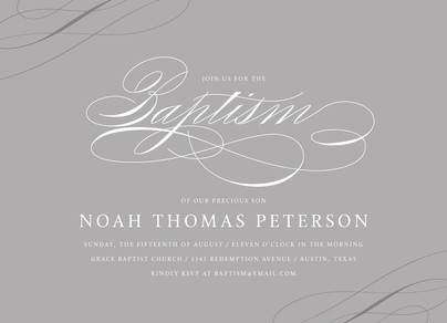 White Script on Gray - Baptism Invitation 7x5 Flat Card