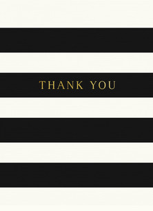 Custom Thank You Card - Black and White Stripes 3.75x5.25 Folded Card