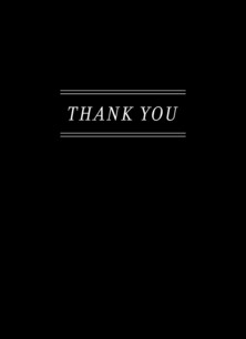 Custom Thank You Note Card - Black & White 3.75x5.25 Folded Card