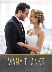 Custom Thank You Photo Card - Gold on Chalkboard 3.75x5.25 Folded Card