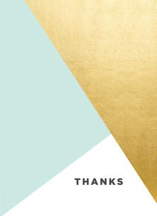 Custom Thank You Card - Blue and Gold Foil 3.75x5.25 Folded Card