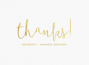 Custom Thank You Card - Gold Lettering 5.25x3.75 Folded Card