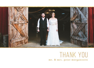 Custom Thank You Photo Card - Gold Trim on White 5.25x3.75 Folded Card