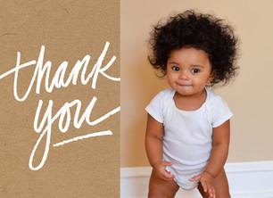 Custom Thank You Photo Card - White on Kraft 5.25x3.75 Folded Card