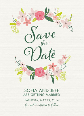 Save the Date Card - Floral 5x7 Flat Card