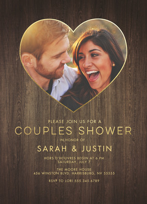 Couples Shower Invitation - Wood 5x7 Flat Card