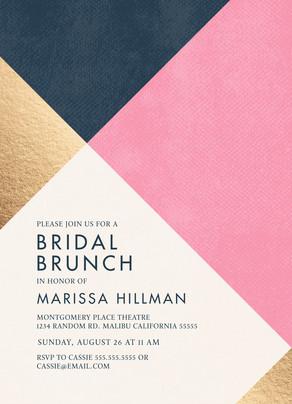 Customized Invitation - Pink, Blue, Gold Pattern 5x7 Flat Card