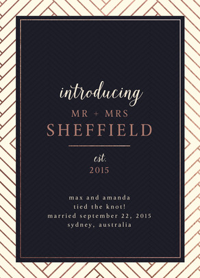 Custom Marriage Announcement - Rose Gold Pattern and Navy 5x7 Flat Card