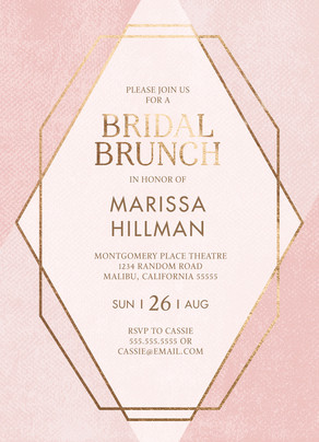 Bridal Brunch Invitiation - Gold Geo Pattern on Pink 5x7 Flat Card