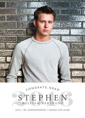 Graduation Photo Announcement - Gray on White 5x7 Flat Card