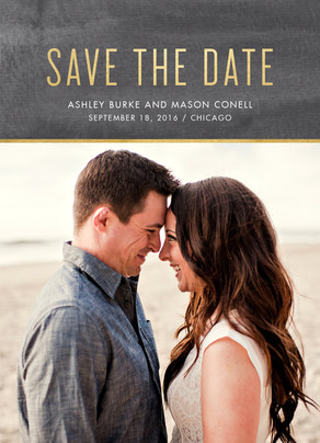 Save the Date Photo Card - Gold on Chalkboard 5x7 Flat Card