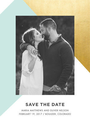 Save the Date Photo Card - Blue and Gold Foil Pattern 5x7 Flat Card