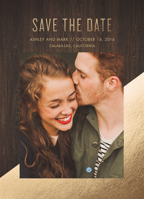 Save The Date Photo Card - Gold Foil and Wood 5x7 Flat Card