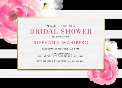 Bridal Shower Invitation Black White Stripes With Floral