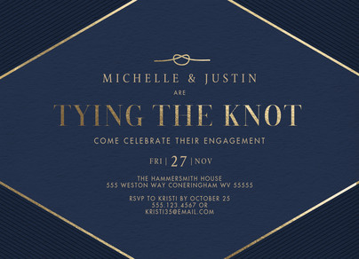 Engagement Party Invitation - Navy and Gold 7x5 Flat Card