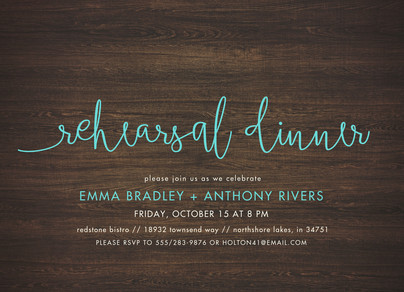 Custom Rehearsal Dinner Invitation - Blue Script on Wood 7x5 Flat Card