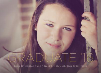 Graduation Photo Card Horizontal - Gold Lettering 7x5 Flat Card
