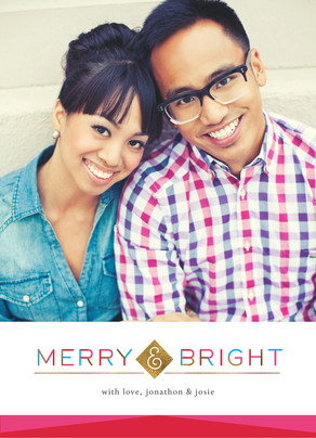 Merry & Geometric Christmas Photo Card 5x7 Flat Card