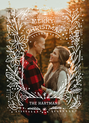 Line Art Overlay Christmas Photo Card 5x7 Flat Card