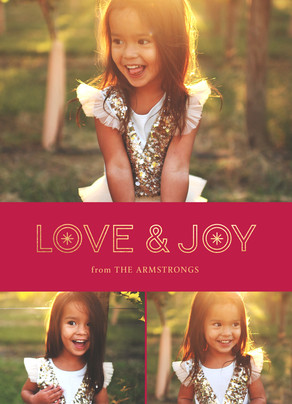 Love & Joy Holiday Photo Card on Red 5x7 Flat Card