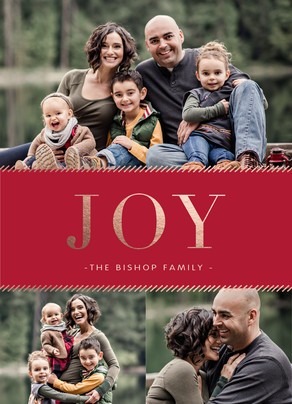 Gold Foil Joy Holiday Photo Card 5x7 Flat Card