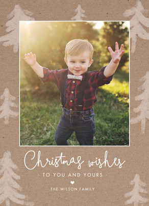 Custom Christmas Photo Card on Kraft 5x7 Flat Card