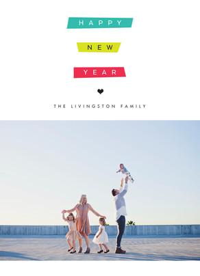 New Year Photo Card - Color Blocks 5x7 Flat Card