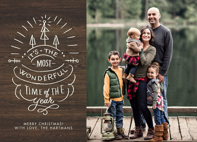 Most Wonderful Christmas Photo Card on Wood Grain 7x5 Flat Card