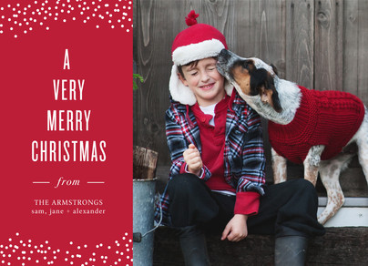Photo Christmas Card - White on Red 7x5 Flat Card