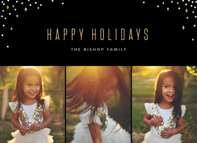 Holiday Photo Card - Confetti on Black 7x5 Flat Card